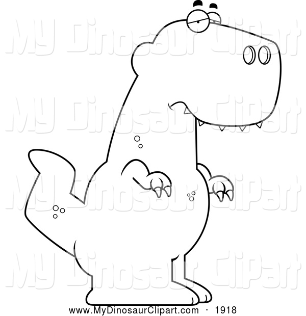 Clipart of a Black and White Outlined Depressed Tyrannosaurus Rex.