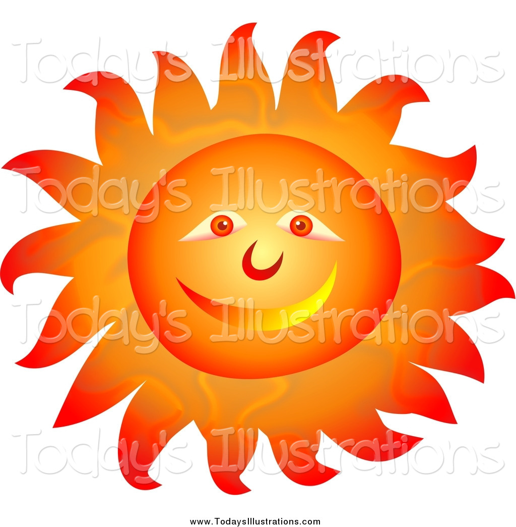 Clipart of a Smiley Orange Sun Face with Blazing Hot Rays by Prawny.