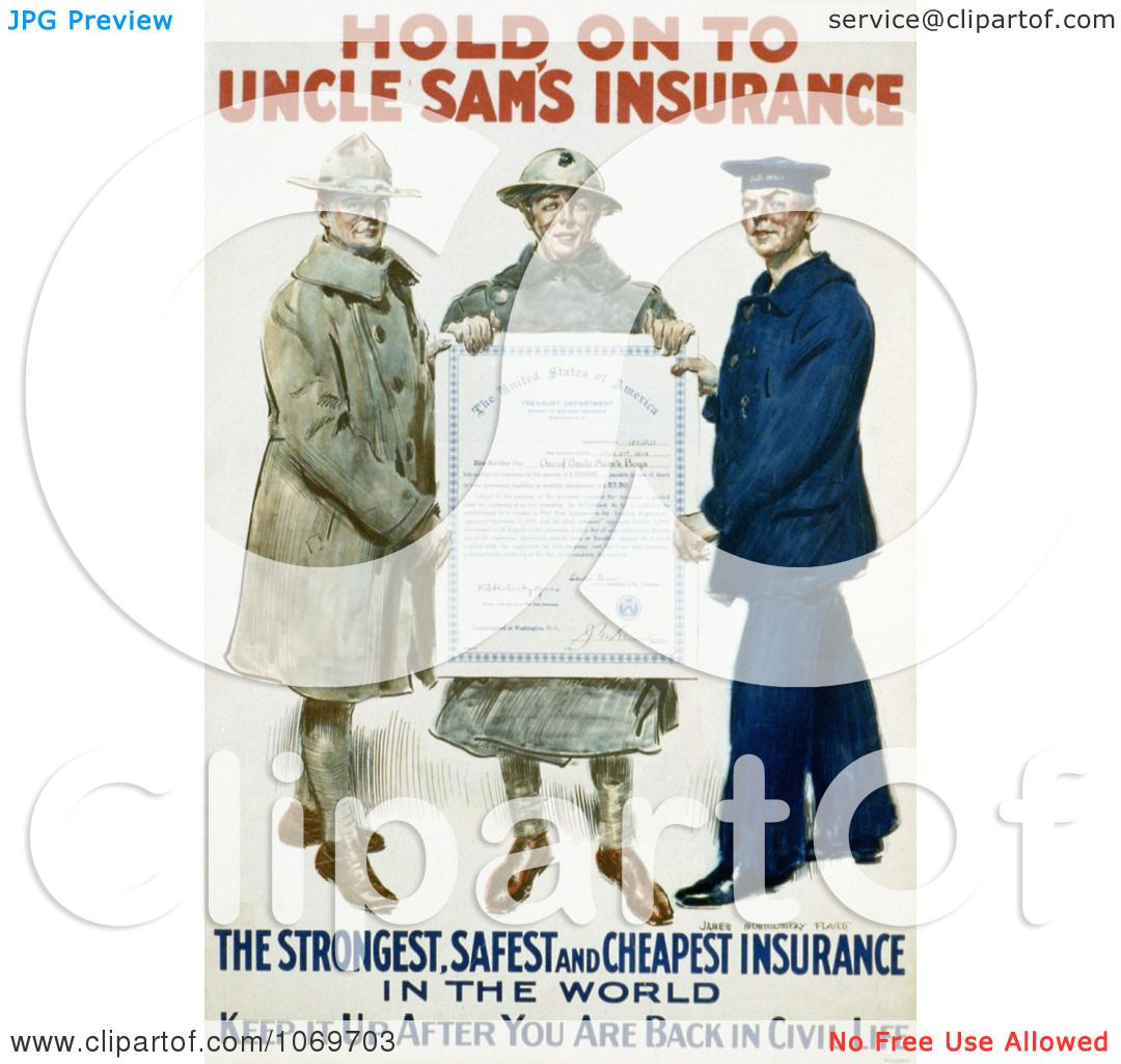 Clipart Of Hold On To Uncle Sam's Insurance 1918.