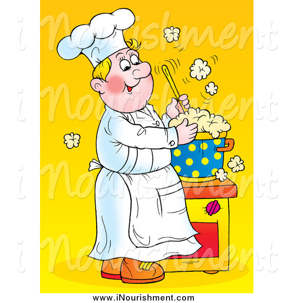 Clipart of a Happy White Male Chef Stirring a Hot Pot of over.