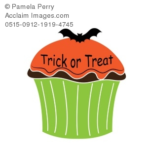 Clip Art Illustration of a Halloween Cupcake.