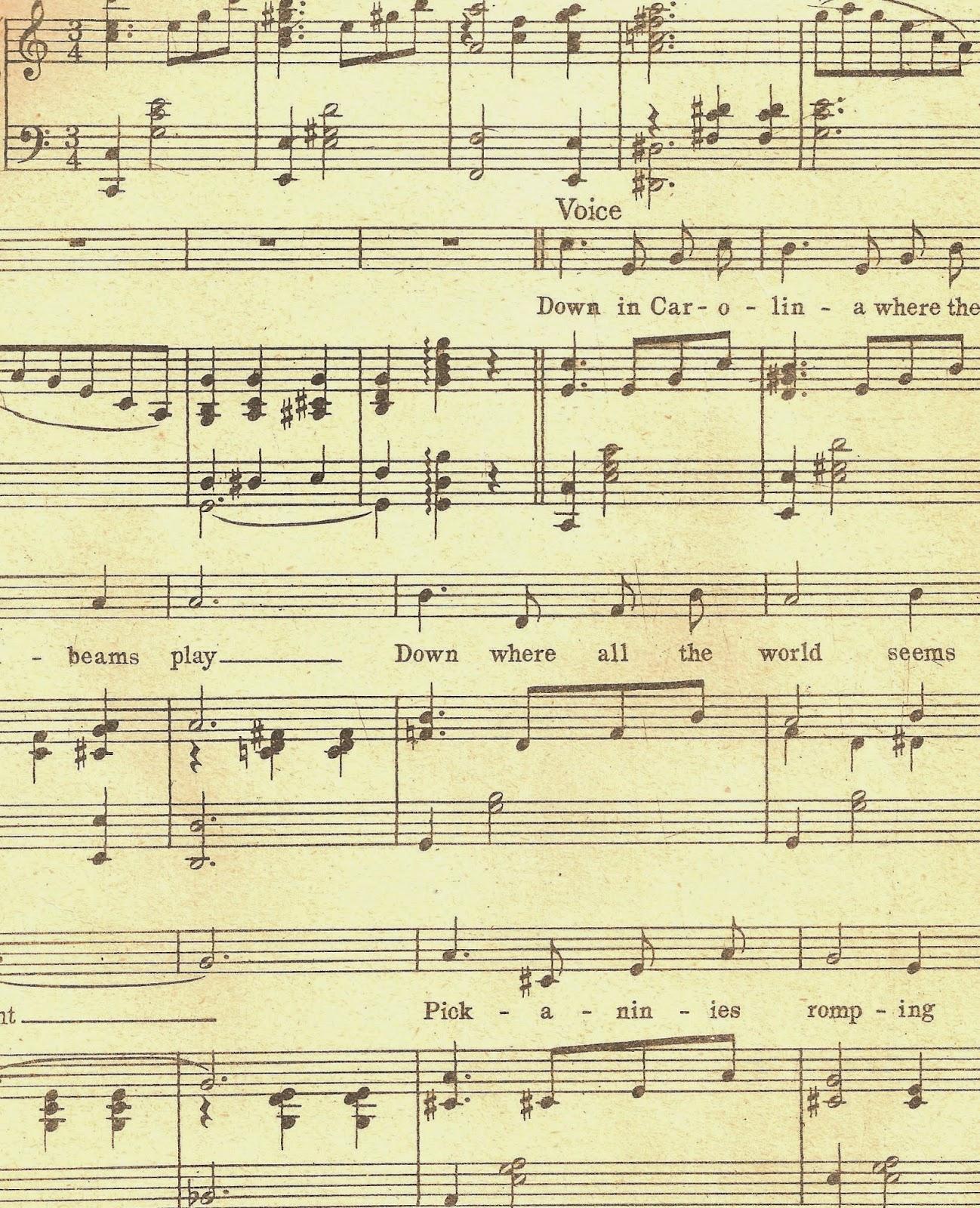 Free Background Digital Stamp 1919 Piano Sheet Music Digital Clip.