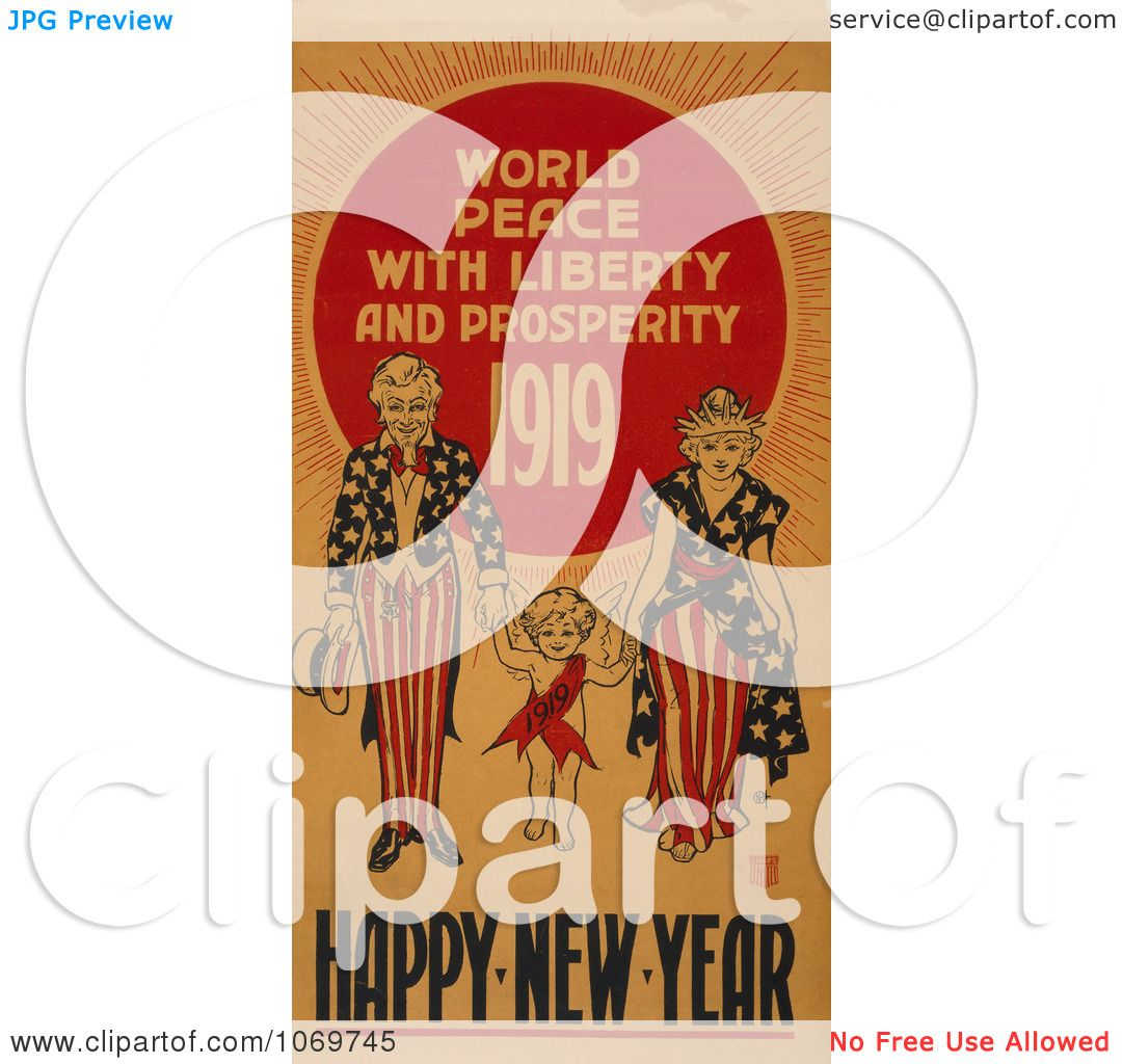 Clipart Of World Peace With Liberty and Prosperity 1919.