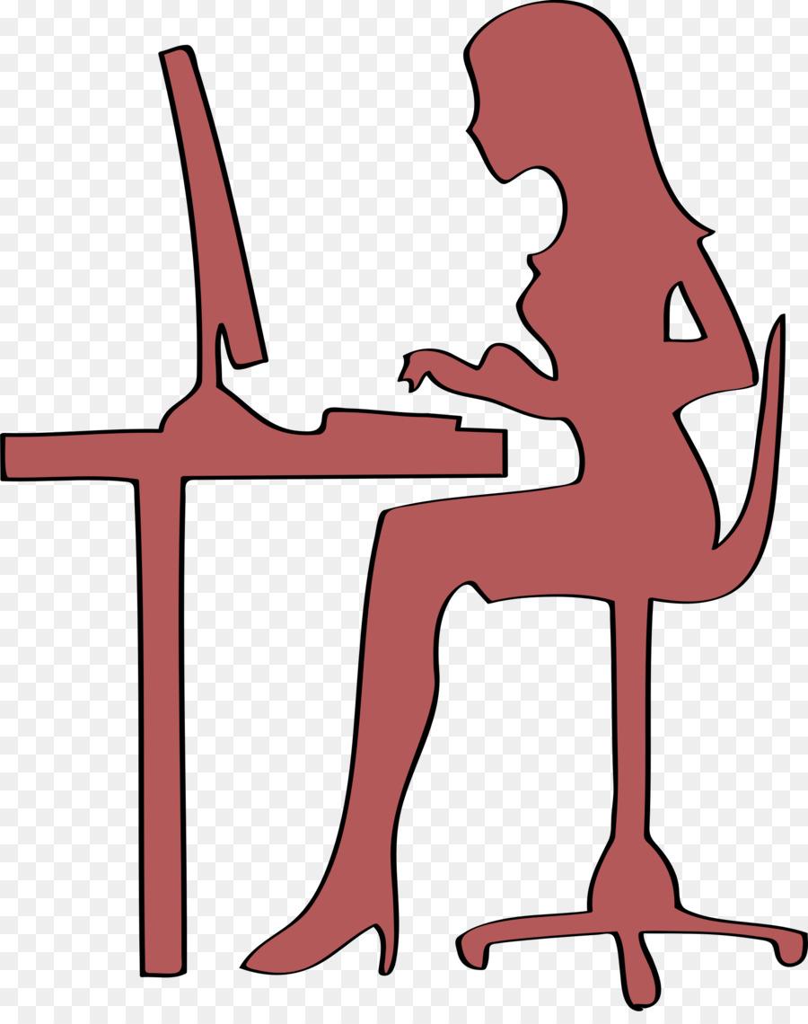 Computer Woman Silhouette Clip art.