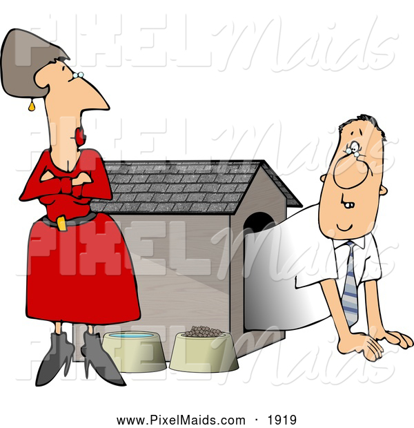 Clipart of an Upset Wife Watching Her Husband Crawl into the.