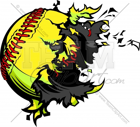 Exploding Fastpitch Softball Clipart Image of a baseball..