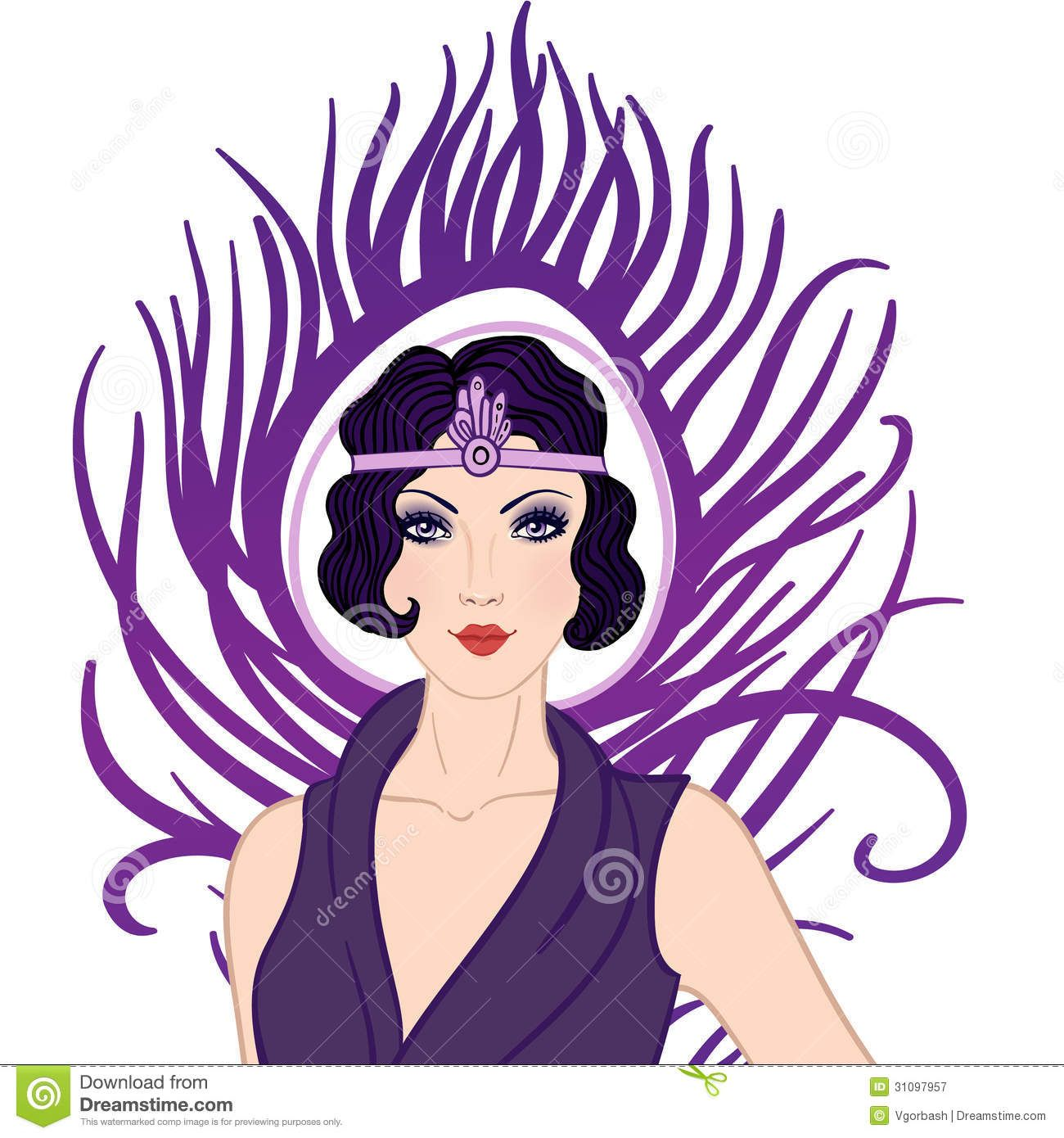 Flapper girl Retro party 1920s Flapper Girl Clipart.