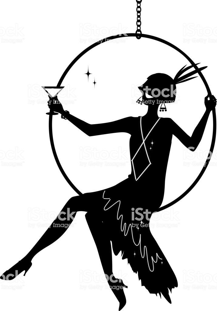 Flapper Silhouette Clipart Stock Illustration.