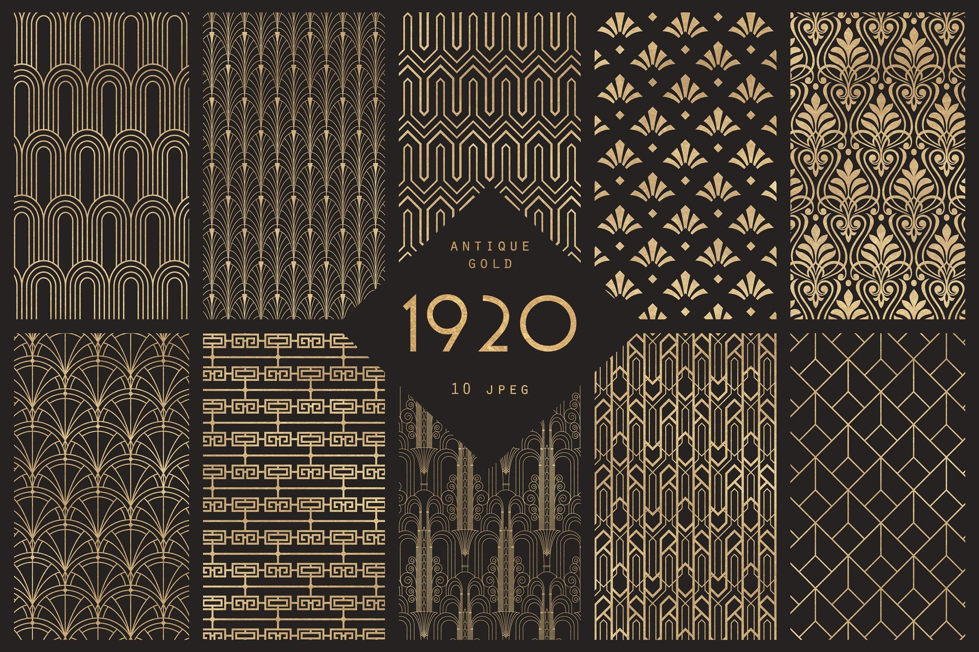 1920 Art Deco Seamless Patterns by The Paper Town on.