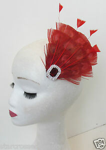Details about Red Peacock Feather Vintage Fascinator 1920s 1940s Races Hair  Clip Art Deco P62.