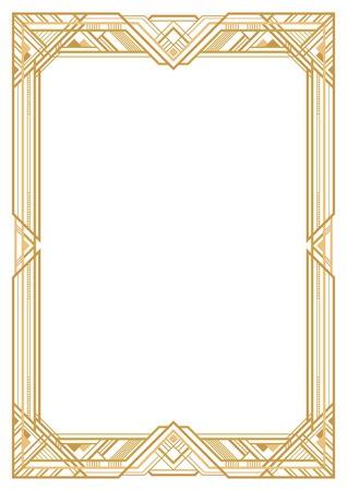 Rectangular golden retro frame, art deco style of 1920s.