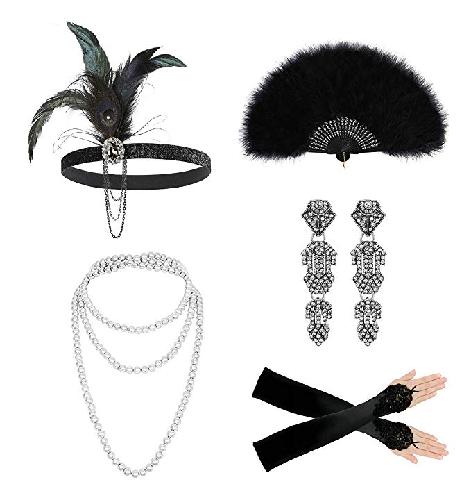 Zivyes Flapper Accessories for Women 1920s Headpiece Gloves Pearl Necklace  Feather Fan Accessories for Halloween Costume.