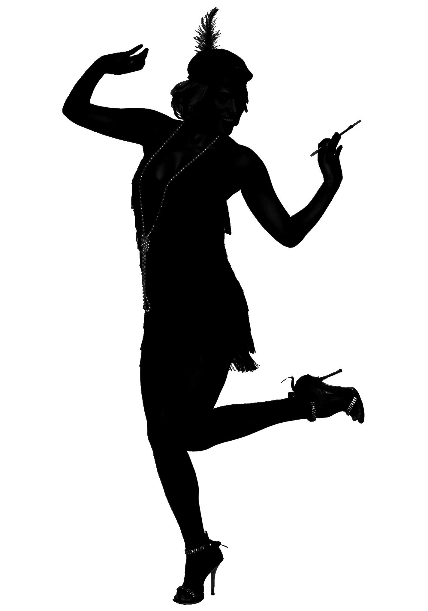 1920s Flapper Roaring Twenties Silhouette Dance.