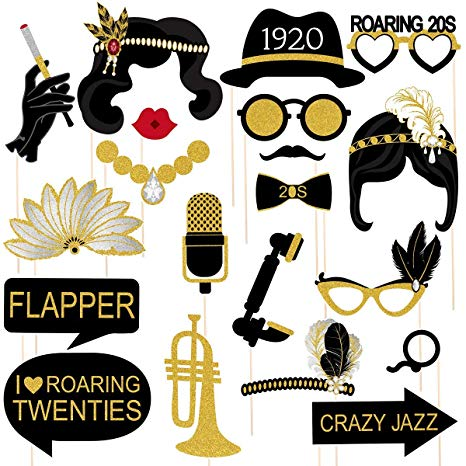 Tinksky 20pcs 1920s Photo Booth Props Roaring 20\'s Party Photo Props with  Bamboo Sticks Creative Party Supplies,Perfect 1920s Themed Birthday Wedding.
