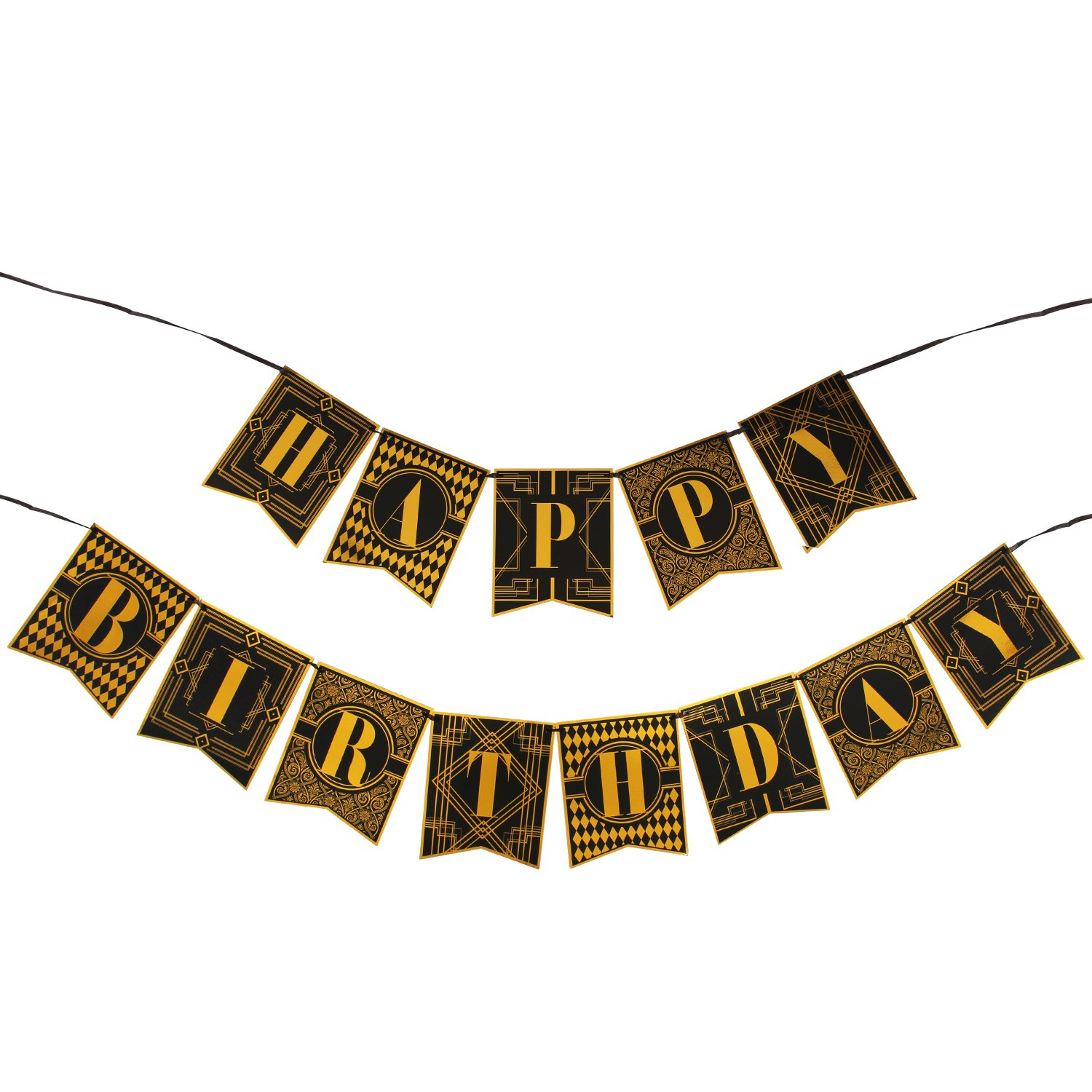 WERNNSAI 1920s Happy Birthday Bunting Banner Roaring 20s Themed Party  Decoration Supplies Luxury Gold and Black Banner for Birthday Party Favors.