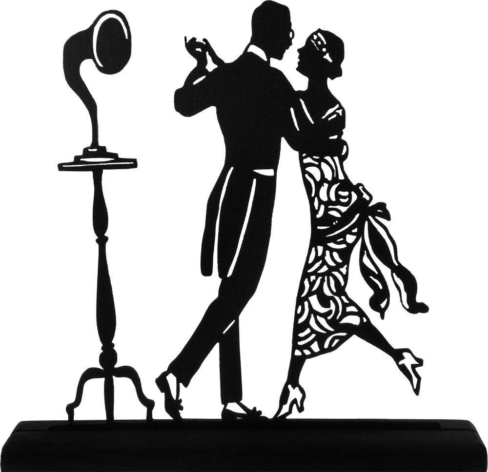 1920\'s Dancing Couple Handmade Display Wood Silhouette.