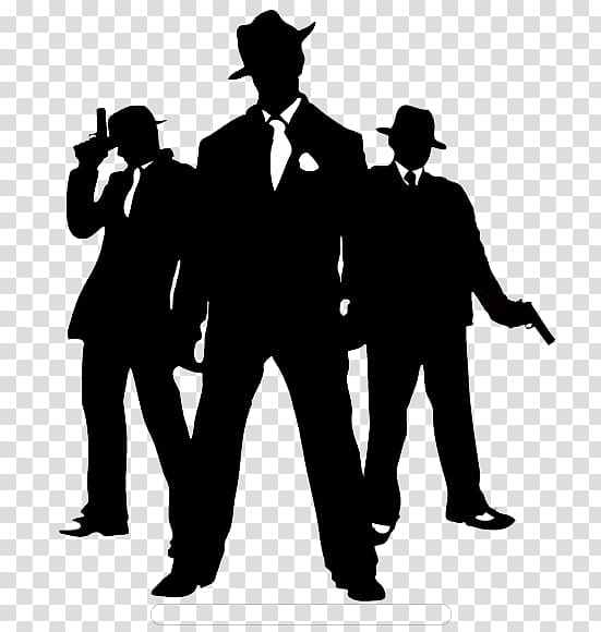 Silhouette of three men wearing formal suits art, 1920s.