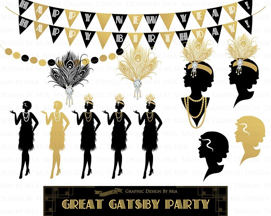 Great Gatsby Party, Flat Gold, 1920 #poque#Clipart#Belle#Art.