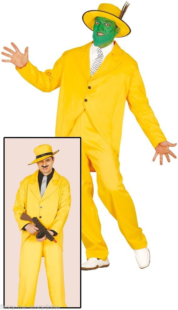 Details about Mens Yellow 1920s Gangster The Mask Halloween Fancy Dress  Costume Outfit Large.