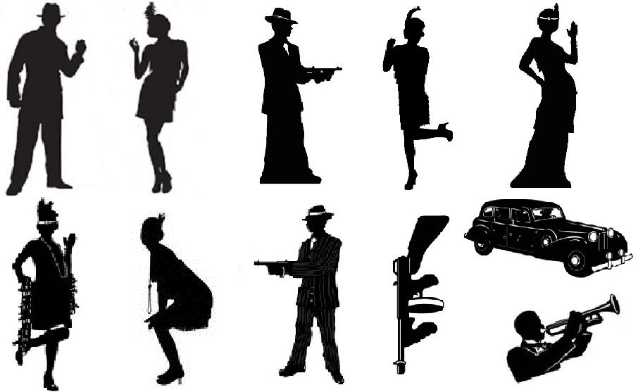 Roaring 1920s flapper/gangster silhouettes in 2019.