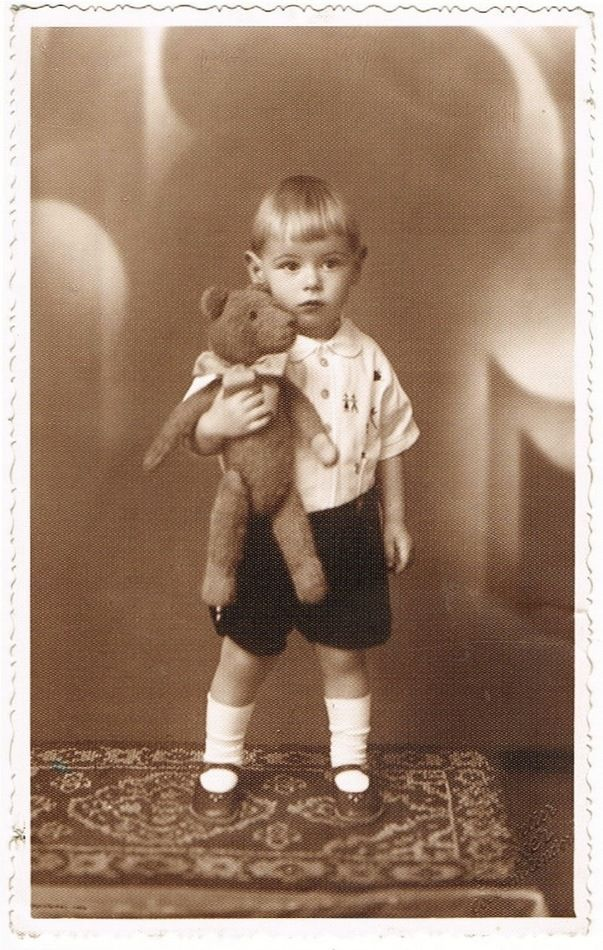 Little Boy with his Teddy Bear. Studio Photo from 1920s.