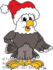 Clip Art Illustration of a Bald Eagle Wearing a Santa Hat.
