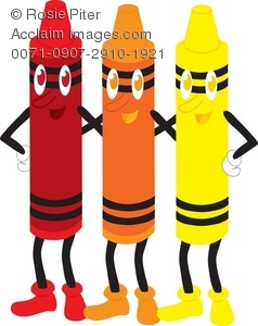 Clip Art Illustration Of A Set Of Smiling Color Crayons.