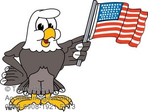 Clip Art Illustration of Bald Eagle With American Flag.
