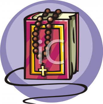 Royalty Free Clipart Image: Rosary on a Bible.