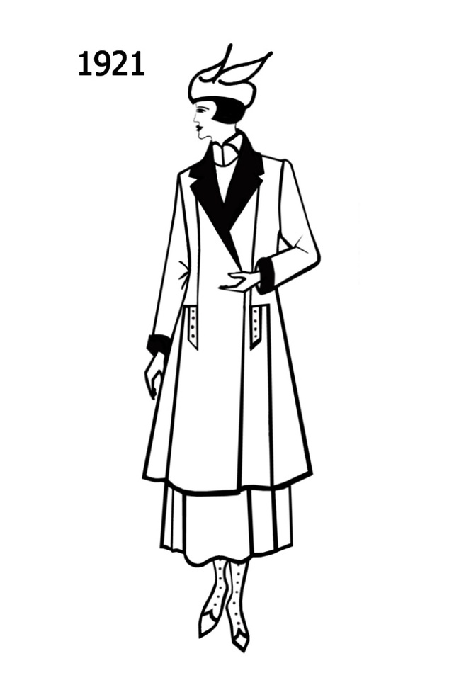 Costume History Silhouettes 1920 1921 Free Line Drawings Clipart.