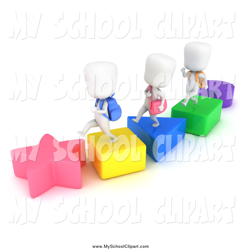 Clip Art of a 3d White School Kids Walking on Shapes by BNP Design.