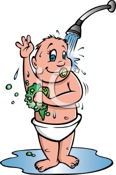 Taking A Shower Cartoon Clipart.
