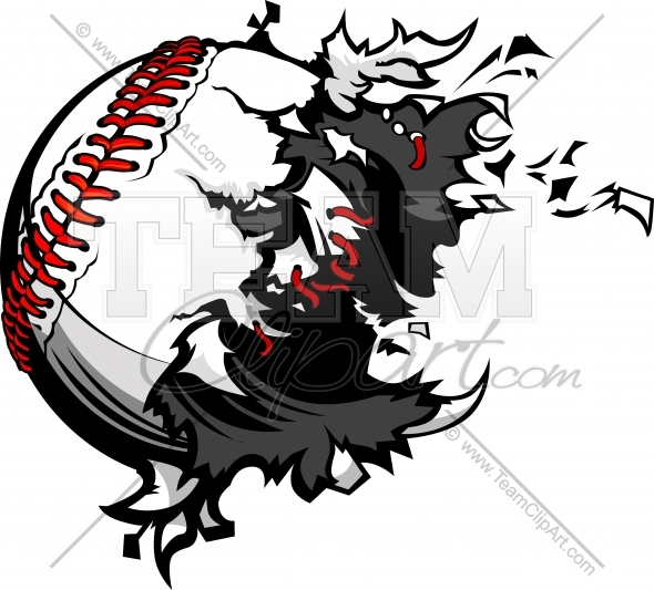 Exploding Baseball Clipart Image of a baseball being torn apart..