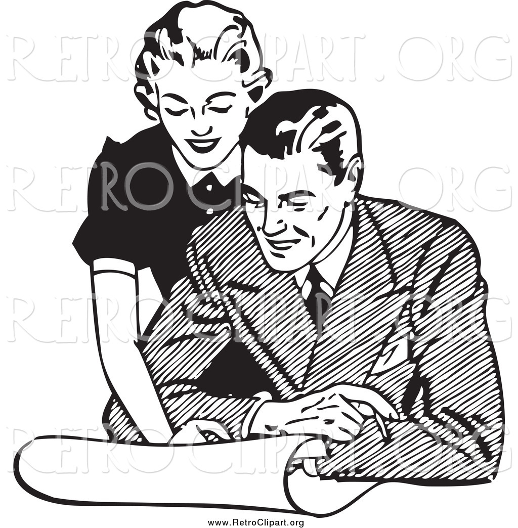 Clipart of a Retro Couple Looking at Real Estate by BestVector.