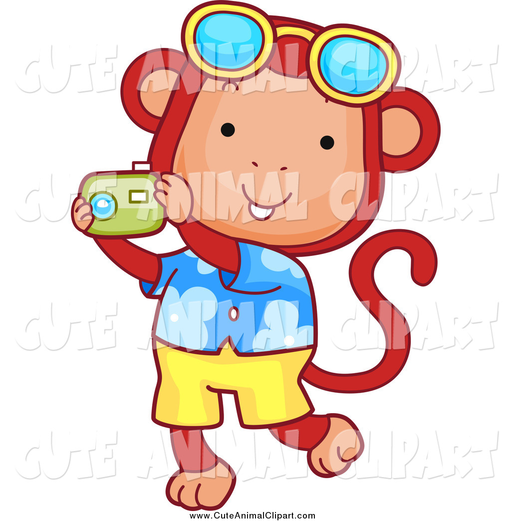 Vector Cartoon Clip Art of a Tourist Monkey Taking Pictures and.
