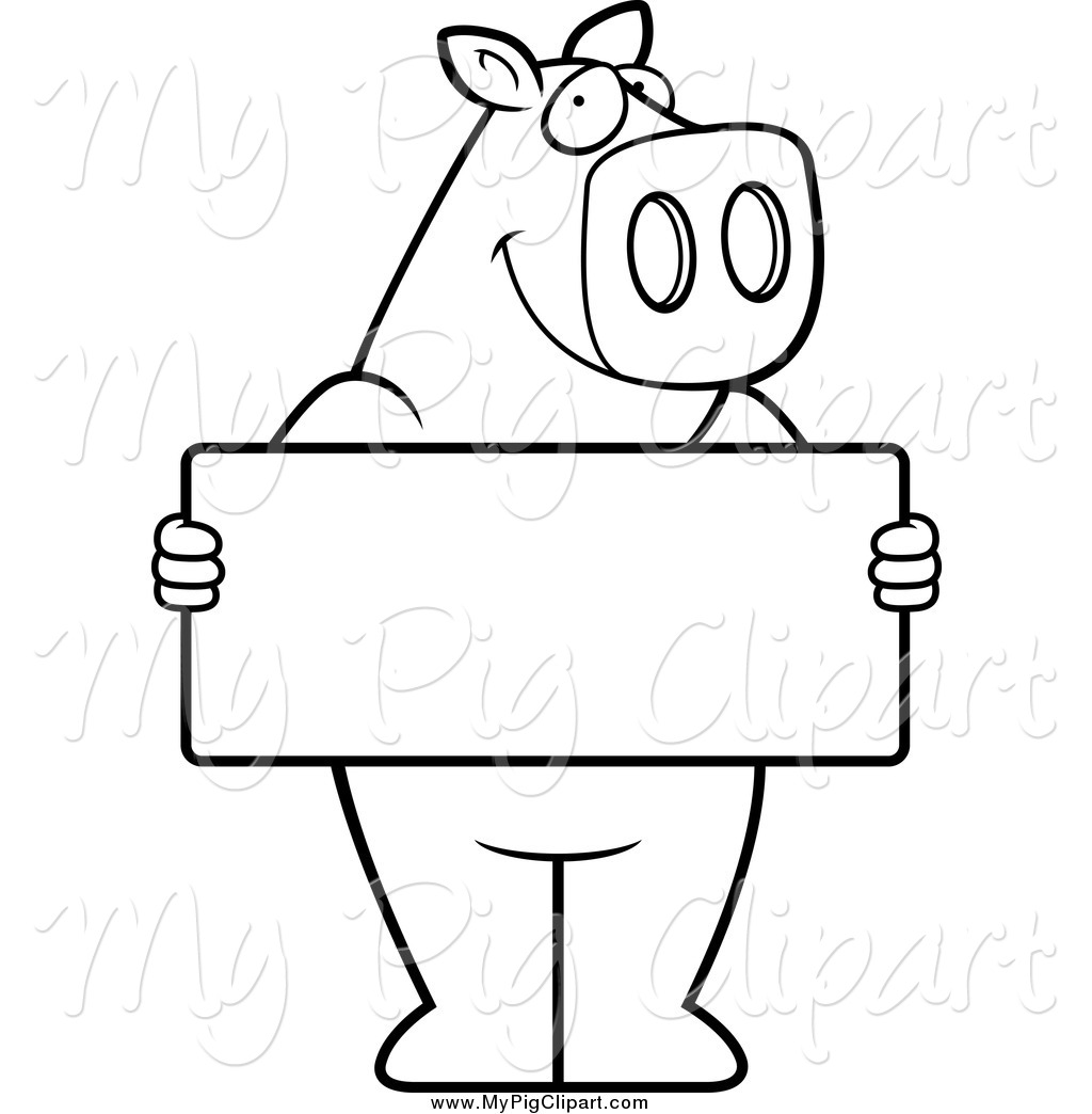 Swine Clipart of a Black and White Pig Holding a Sign Board by.