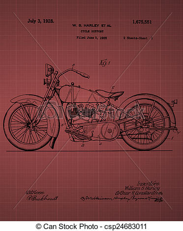 Clipart of Harley Davidson Motorcycle Patent 1925, Vintage patent.
