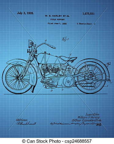 Stock Illustrations of Harley Davidson Motorcycle Patent 1925.