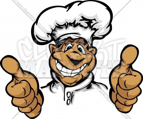 Happy Chef Clipart Graphic Vector Cartoon.