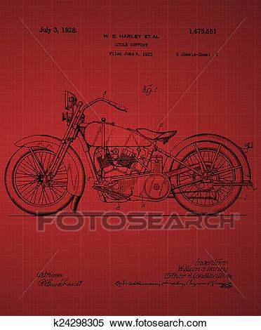 Stock Illustration of Harley Davidson Motorcycle Patent 1925.