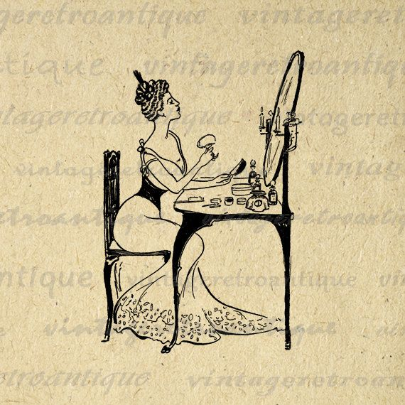 Digital Graphic Girl at Makeup Vanity Download Printable.