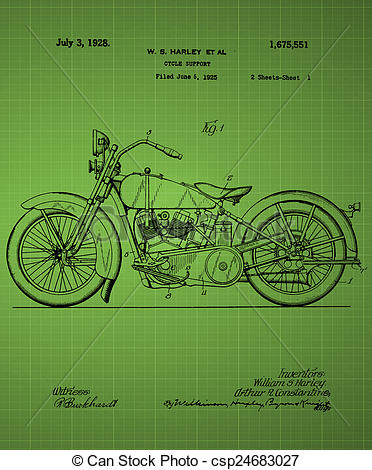 Clip Art of Harley Davidson Motorcycle Patent 1925, Vintage patent.