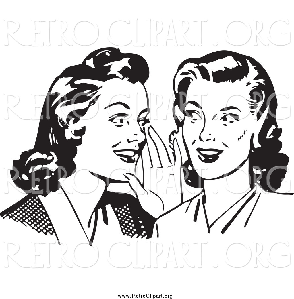 Clipart of Retro Gossiping Women, in Black and White by BestVector.