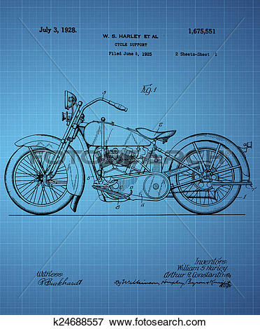 Stock Illustration of Harley Davidson Motorcycle Patent 1925.
