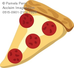 Clip Art Illustration of a Slice of Pepperoni Pizza.