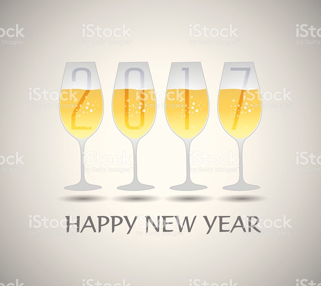 Happy New Year 2017 With Champagne Glasses stock vector art.