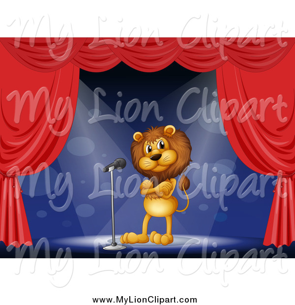 Clipart of a Lion Standing on Stage by colematt.