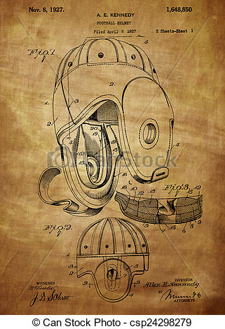 Stock Illustrations of Football Helmet Patent From 1927.