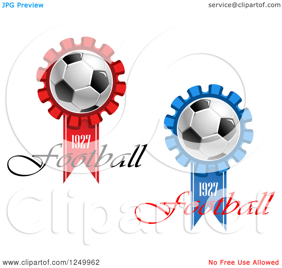 Clipart of 1927 Football Ribbons with Soccer Balls.