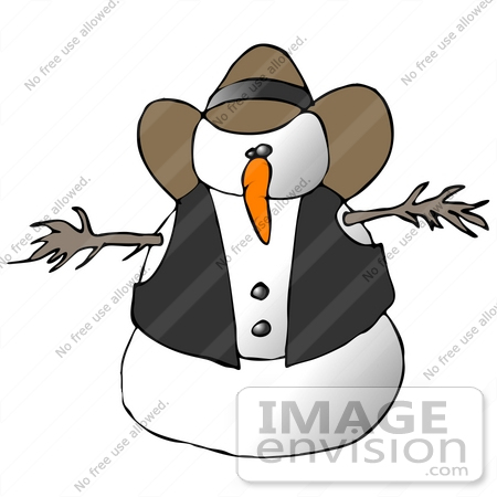 Clipart Ilustration of a Snowman Cowboy in a Vest and Hat.